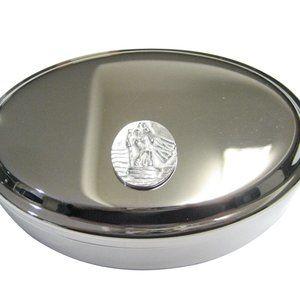 Oval Saint Christopher Oval Trinket Jewelry Box